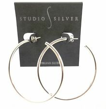 STUDIO SILVER Silvertone Fashion Hoop Earrings With Post Back Backings