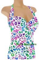 Victoria's Secret F/S Leona Animal Molded Cup Pushup Halter Tankini Swim TOP