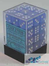 CHESSEX FROSTED 12mm SET OF 36 D6 BLUE WITH WHITE DICE MTG POKEMON