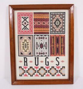 Petit Point Needlepoint Southwestern Tribal Native Style Rugs Vtg 11x14 Collage
