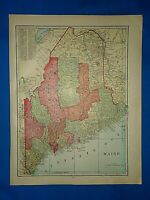 Vintage 1909 Atlas Map ~ MAINE ~ Old & Authentic ~ Free S&H