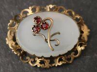 Victorian chalcedony and garnet paste trefoil brooch