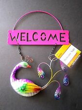 "Welcome Sign Beautiful Peacock W/ Feathers Glossy Metal 8"" x 9"" Brand New!"