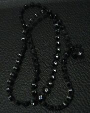 with white stones elasticated Gorgeous black plastic necklace set