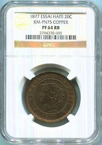 Haiti - 1877 20c Copper Essai in NGC PF 64 RB