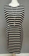 COAST ladies SIZE 14 summer black & white striped sleeveless A line dress (R358)
