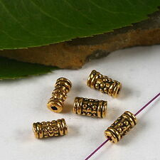 50pcs dark gold-tone flower tube spacer beads h2325