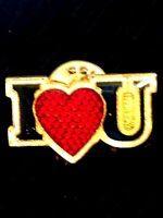 Vintage Collectible I Love You Heart Metal Colorful Pinback Hat Pin Lapel Pin