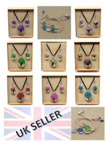 Pressed Flower Jewellery Gift Sets Nature Necklace Earrings Boxed + Bracelets
