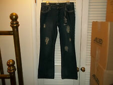 "DRAMA GOLD PLATINUM *NEW* JEANS ""Bootcut Lowrise LightWeight 11-12 Blue NWT HOT!"
