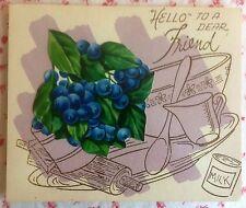 Vintage Unused Greeting Card Blueberries Rolling Pin, Wooden Spoon, Recipe