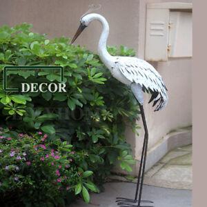 Metal Crane Bird Garden Decor Ornament White Sculpture Statue Home Decor Outdoor