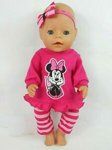 """Dolls clothes for 17"""" BABY BORN~16"""" CPK DOLL~MINNIE MOUSE TOP~LEGGINGS~H""""BOW"""