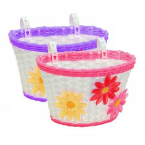 Kids Strap-on Plastic Bicycle Basket - Purple Pink with Flowers
