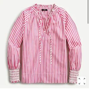 J.Crew 2021 Smocked-cuff Popover Shirt Top Striped Fuschia Pink White SM, MED
