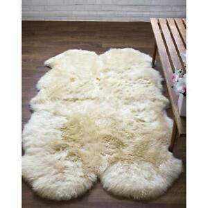 Genuine Australian Large Sheepskin Rug Four Pelt Natural Soft Fur, 4x6
