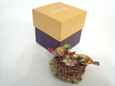 RUCINNI Jeweled Trinket Hinged Box - Two Birds and Bird Nest with Jeweled Eggs