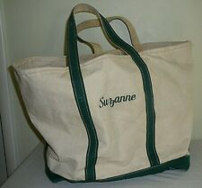 """Vintage LL Bean X-LARGE Boat & Tote Canvas Bag White & Green Striped """"Suzanne"""""""