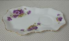 H M SUTHERLAND Bone China REPLACEMENT CRUMPET PLATE SNACK TRAY Purple Floral