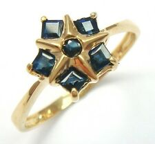 SYJEWELLERY STAR 9CT YELLOW GOLD NATURAL SAPPHIRE RING   SIZE N    R1184
