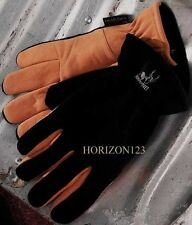 HeatLok Insulated-GENUINE Deer Skin Suede Leather Gloves-Black & Tan-Women's-XL