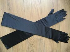 "Extra Long Ivory/Black/Pink/Red/Blue Satin Gloves 22"" One Size"