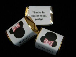 30 PERSONALIZED MINNIE MOUSE PARTY FAVOR CANDY WRAPPERS HERSHEY'S NUGGET LABELS