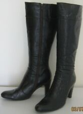 Novo Brand Knee High Length Dark Brown Faux Leather Boots-Zip Closure