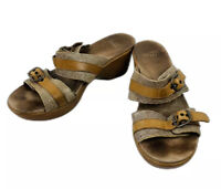 DANSKO Womens Shoes Brown Leather Strappy Wood Wedge Slides Sandals Size 40 EU