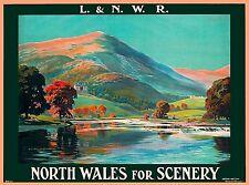 North Wales Scenery Great Britain United Kingdom Vintage Railroad Travel Poster