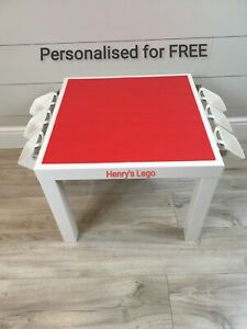 LEGO Table All RED Base Plate Organised Storage Play Set Up Personalised