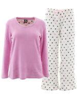 Donna L'oren Women's Stars Pink V-Neck Fleece Pajamas PJs