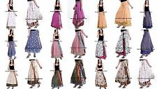 30 PC LOT Indian Women Ethnic Silk Rapron Printed Long Skirt Wrap Around Skirt