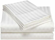 1000 TC White Striped Queen Size Bed Sheet Set Egyptian Cotton