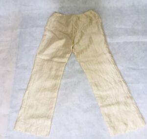 Precis Petite Cream Linen Smart Trousers, Size 12, inside leg 29.5 inches