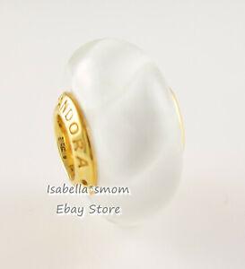 WHITE WAVES Authentic PANDORA Yellow GOLD Plated MURANO Glass harm 767160 NEW