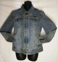 HARLEY-DAVIDSON Women's Small Blue DENIM JACKET Embroidered Eagle biker moto