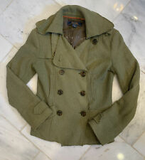 ANTHROPOLOGIE sz XS Millard Fillmore Army Green Wool blend Military Coat  BOHO