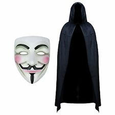 ANONYMOUS V FOR VENDETTA GUY FACE MASK HALLOWEEN FANCY DRESS HOODED VELVET CAPE