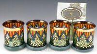 Mackenzie Childs CIRCUS OLD FASHIONED TUMBLERS GLASSES Set of 4 Rare Unused