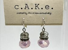 c.A.K.e. Ali Khan Silver Tone Clear / Iridescent Pink Double Bead Drop Earrings