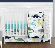 Sweet Jojo Navy Blue Gray Dinosaur Bumperless Baby Boy Girl 4pc Crib Bedding Set