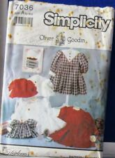 "1990 SIMPLICITY Pattern #7036 OLIVER Goodin CHILD & Match 25"" DOLL DRESS Sz 2-6X"
