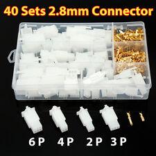 40 Set Cosse Connecteur Électrique 2 3 4 6 Voie Terminal 2.8mm Voiture Auto Moto