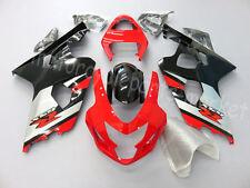 For 2004-2005 Suzuki GSXR 600 750 K4 Black Red Fairing Bodywork Injection Kit