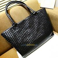 New Fashion Korean Weaved Style Lady Hobo PU Leather Handbag Shoulder Bag Black