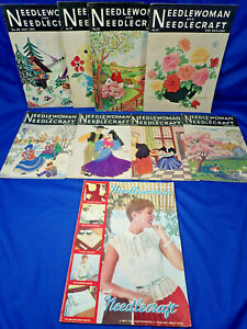 9 VINTAGE NEEDLEWOMAN CRAFT  MAGAZINES FROM THE 1950'S COMPLETE WITH TRANSFERS