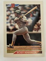 1992 BOWMAN RICKEY HENDERSON OAKLAND ATHLETICS CARD #166 -NICE! -POSSIBLE 10!!!