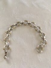 "REDUCED Sterling Bracelet, Gold Accents 7.5"", 28.8 Grams,FREE SHIPPING, PAY PAL"