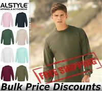 ALSTYLE Mens Cotton Blank Classic Long Sleeve Tee T Shirt 1304 up to 3XL
